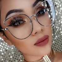 WOWSUN Cat Eye Sunglasses Women Clear lens glasses Frame Brand Designer Metal Frame Spectacles A004