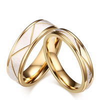 Fashion Stainless Steel Couples Rings For Unisex Gold Wedding Bands Engagement Anniversary Lovers Promise Men's Women Ring