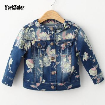Trendy Yorkzaler Spring Autumn Kids Jacket Floral Softshell Denim Coat For Girl Casual Long Sleeve Printed Flowers Toddler Outerwear AT_94_13