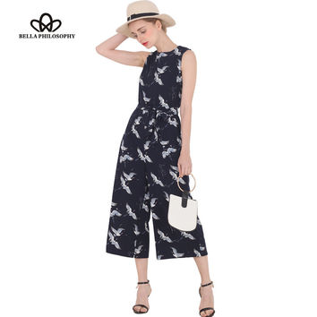 Bella Philosophy  spring summer new women's bird print O-neck sleeveless belt sashes ankle-length jumpsuits blue