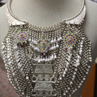 Rare Gorgeous Hmong Asian 1920s/30s Pure Silver Triple Spirit Lock Bib Necklace / Chest Plate with 3 Enameled Starbust Pendants