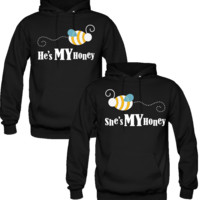 HE IS MY HONE SHE IS MY HONEY DESIGN  LOVE COUPLE HOODIES