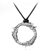 2017 Game Series The Elder Scrolls Skyrim Necklace Collare Silver Plated Circle Shape Choker Hot Dragon Rope Chain Men Necklace