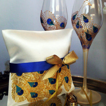 Hand painted Satin ring bearer pillow peacock feathers in gold, blue and turquoise personalized wedding favor