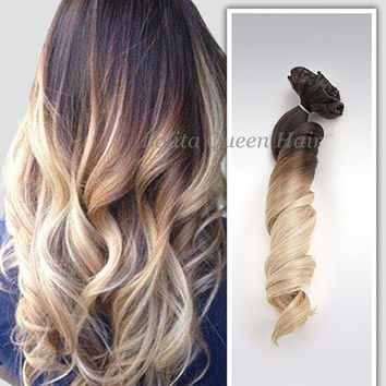 Clip in Ombre Hair Extensions,Brown to Blonde Two Colors Ombre Balayage Indian Remy Human Hair, Full Set 100grams+