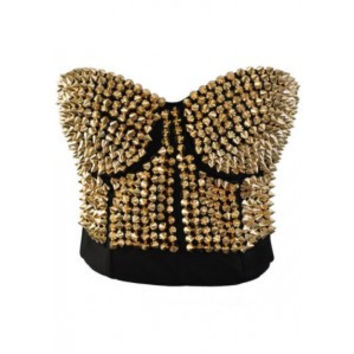 After the Rain Lingerie - Steampunk Corset Bra and Gold Rivet