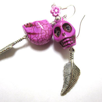 Day Of The Dead Earrings Sugar Skull Jewelry Fuchsia Feather Dangles