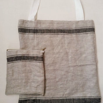 Linen bag, grain sack tote, tote bag, linen tote bag, linen tote, grain sack bag, shopping bag, market bag, eco friendly bag, clarashandmade