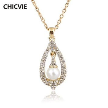 CHICVIE 11.21 Gold Crystal necklaces & pendants For Women Steampunk Pearl Neckalce love Ethnic Jewelry Vintage Accessories new