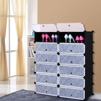 Black Shoe Rack With Closed Cabinet Storage