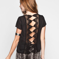 Full Tilt Crochet Back Womens Top Black  In Sizes