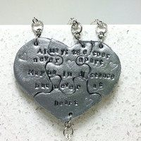 Heart Necklaces set of 4 Always Together Never Apart Maybe in distance but never at heart Polymer Clay