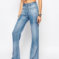 Somedays Lovin Chambray Denim Flares with Button Up