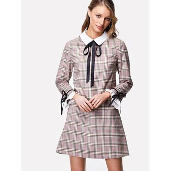 Contrast Collar And Ruffle Cuff Plaid Dress