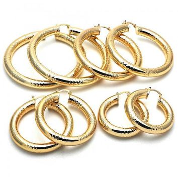 Gold Layered Large Hoop, Hollow Design, Golden Tone