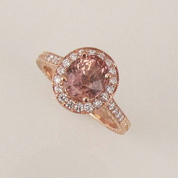 Chocolate Peach Sapphire 14k Rose Gold Diamond Halo Engagement Ring Vintage Style Gemstone Engagement Ring Weddings