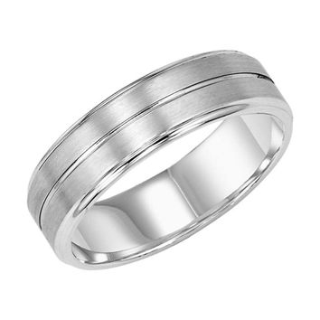 14K White Gold 6mm Wide Mens Wedding Band with Center Groove
