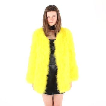 Full Marabou / Ostrich Feather Shaggy Mongolian Style Fur Rolling Stones Groupie / Club Kid / Almost Famous Swing Jacket / A Line Coat