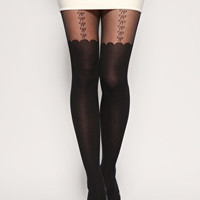 Bow Suspender Tights - One Size / Black Bows