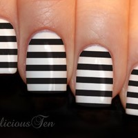 NAILICIOUS TEN Black Stripe Nail Wraps Art Water Transfer Decals 12pcs - ST8019