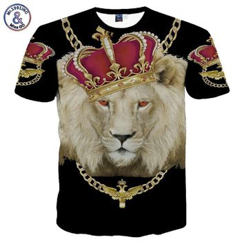 Mr.1991INC New Fashion Men's/Women's Gold Chain Crown Lion 3D Print Casual T-Shirt Summer T shirt Brand Clothing Tees