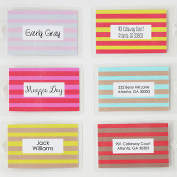 Girls Diaper Bag Tag Kids Luggage Tag Custom Striped Stripes Boys Personalized Family Luggage Tags Beach Wedding Favors Bridesmaid Gifts