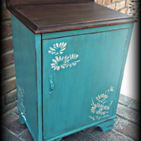Shabby chic cabinet, rustic cabinet, distressed cabinet, teal cabinet, painted cabinet, small cabinet, stenciled cabinet, storage cabinet