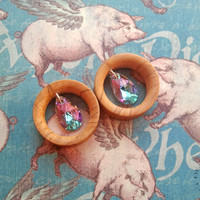 "Olive Wood + Crystals ""Flying Pigs"" Tunnels - Size 24 - 40mm (15/16""-1 5/8"")"