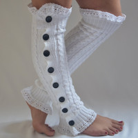 Leg warmers-white cable knit slouchy open button down lace leg warmers knit lace leg warmers boot socks valentines day gifts
