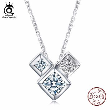 ORSA JEWELS 3 PCS Genuine 925 Sterling Silver Crystal Love Box Pendant Necklaces for Girlfriend Birthdays Gift  SN32