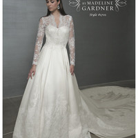 SPECIAL ORDER***Mori Lee Princess Kate Middleton Inspired Lace & Taffeta Wedding Gown - 0 to 18 - Unique Vintage - Bridesmaid & Wedding Dresses