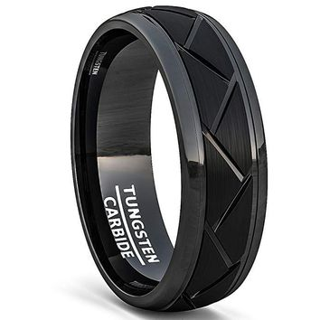 Men's Black Tungsten Wedding Ring With Brushed Zigzag Grooved Comfort Fit - 8mm