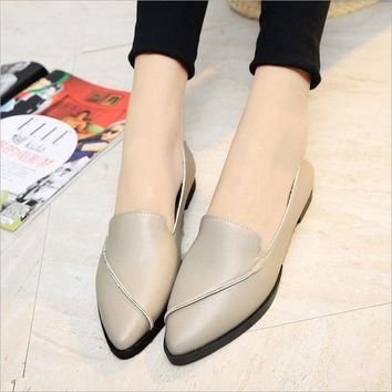 Women Leather Pointed Toe Flats Casual Shoes