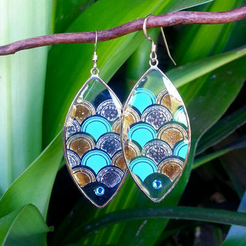 Mermaid Scales Earrings, Blue and Gold Mermaid, 14K Gold Filled, Swarovski Crystal