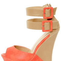 Monaco 3 Coral and Beige Belted Color Block Wedges
