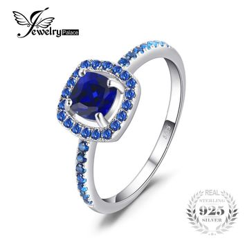 JewelryPalace Fashion 2 ct Square Created Sapphire Blue Spinel Engagement Ring For Women 100% 925 Sterling Silver Fine Jewelry