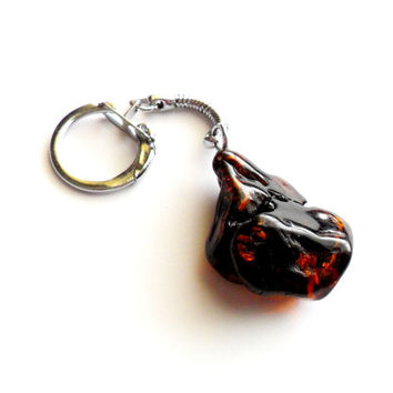 Vintage Amber Key Chain - Rough Amber Nugget - Baltic Amber Keychain - Silver Tone Key Ring - Fathers Day Gift - Collectible Unique