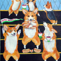 Go Team Corgi Flag Canvas House Size