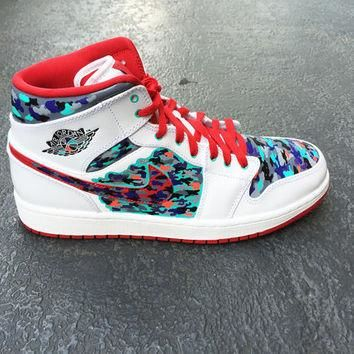 Mens custom Nike Air Jordan 1 shoe, Jordan Camo, Camouflage design, infrared, grape, t