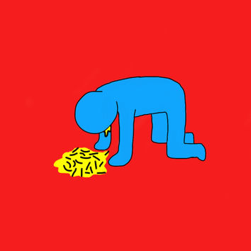 Original Art Poster - Super Funny - Keith Haring-style Pop Art Hangover- A4 size - Humor Illustration