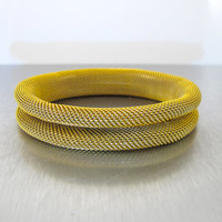 Vintage Woven Mesh Bracelet, Woven Roll On Gold Semi Rigid Modernist Flex Bangle Bracelet, Frederic Duclos Style