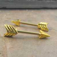 Gold Arrow Tribal Nipple Bar Jewelry Barbell