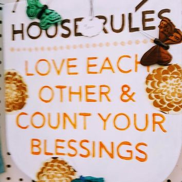 "Hand-painted Wooden Plaque- ""House Rules"""