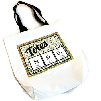 TOTeS NErDy Periodic Table Reusable Bag Chemistry Glasses Hipster Science Geek Nerd Rubiks Cube