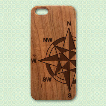 Compass Wood iPhone 4 Case - Engraved Real Wood Phone Case - travel iphone 4/4s 5/5s 5C 6 cover laser cut