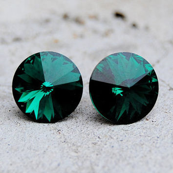 Emerald Earrings  Swarovski Crystal Emerald Green by MASHUGANA