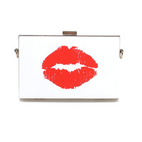 White & Red Pucker Up Kiss Lock Box Clutch