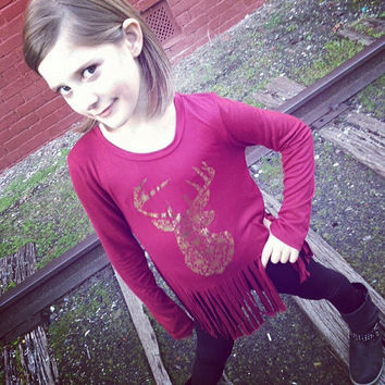 KIDS: Fringe Reindeer Top