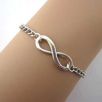 Simple bracelet, infinity, wax line, woven leather, antique silver, the maid of honor, boyfriend, girlfriend.B12