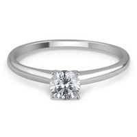 1/4 Cttw. Certified Round Cut 14K White Gold Diamond Engagement Ring - Kmart